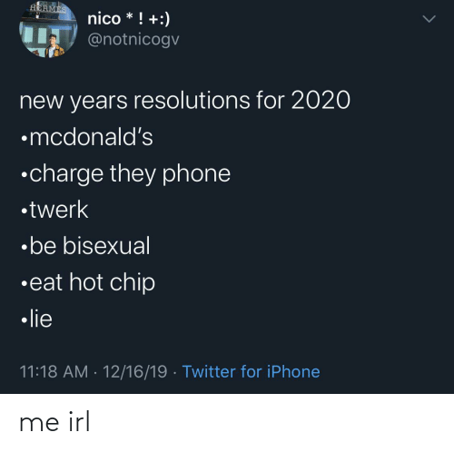 Chip: HERMES  nico * ! +:)  IT @notnicogv  new years resolutions for 2020  •mcdonald's  •charge they phone  •twerk  •be bisexual  •eat hot chip  • lie  11:18 AM · 12/16/19 · Twitter for iPhone me irl