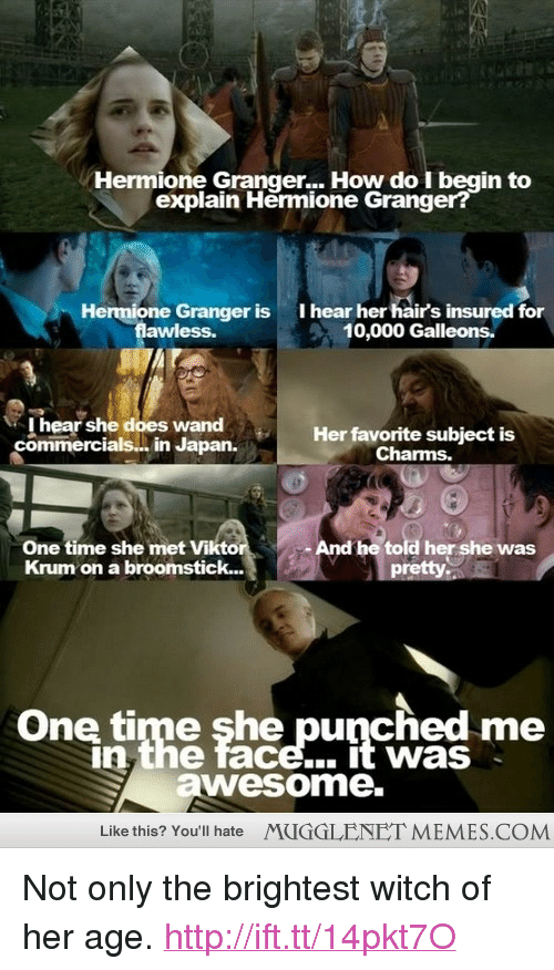 """memes: Hermione Granger... How do I begin to  explain Hermione Granger?  Hermione Granger is  awless.  I hear her hairs insured for  10,000 Galleons.  I hear she does wand  commercials.. in Japan.Herfavorite subject is  Charms.  One time she met Vikto  Krum on a broomstick...  - And he told her she was  One time she punched me  n the face... it was  awesome.  Like this? You'll hate  MUGGLENET MEMES.COM <p>Not only the brightest witch of her age. <a href=""""http://ift.tt/14pkt7O"""">http://ift.tt/14pkt7O</a></p>"""