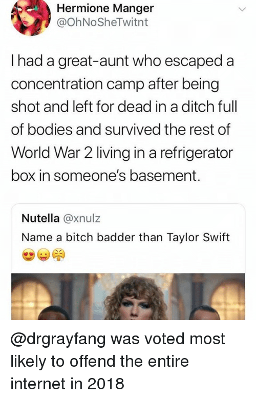 concentration camp: Hermione Manger  @OhNoSheTwitnt  I had a great-aunt who escaped a  concentration camp after being  shot and left for dead in a ditch full  of bodies and survived the rest of  World War 2 living in a refrigerator  box in someone's basement.  Nutella @xnulz  Name a bitch badder than Taylor Swift @drgrayfang was voted most likely to offend the entire internet in 2018
