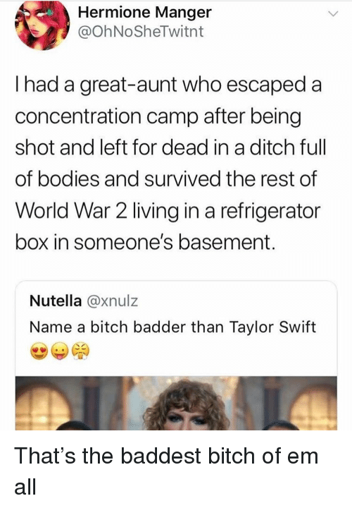 concentration camp: Hermione Manger  @OhNoSheTwitnt  I had a great-aunt who escaped a  concentration camp after being  shot and left for dead in a ditch ful  of bodies and survived the rest of  World War 2 living in a refrigerator  box in someone's basement  Nutella @xnulz  Name a bitch badder than Taylor Swift That's the baddest bitch of em all