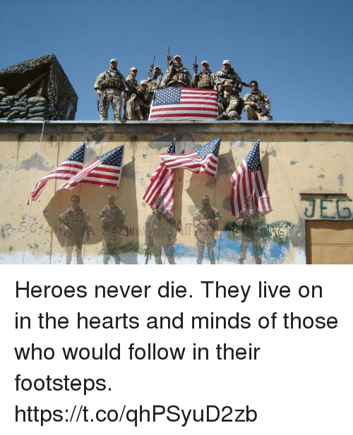 Memes, Hearts, and Heroes: Heroes never die. They live on in the hearts and minds of those who would follow in their footsteps. https://t.co/qhPSyuD2zb