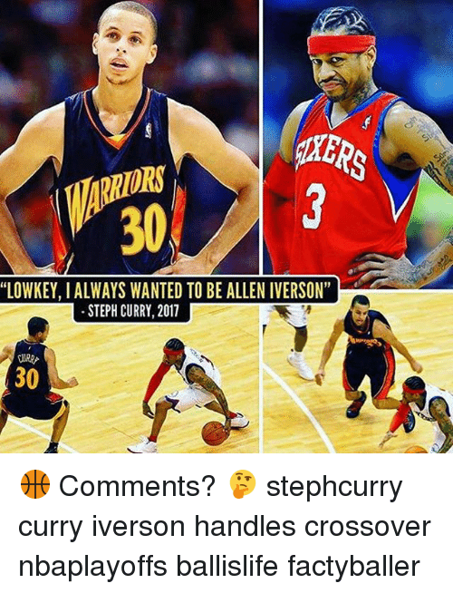 "Allen Iverson, Memes, and Steph Curry: HERS  ORS  ""LOWKEY, I ALWAYS WANTED TO BE ALLEN IVERSON""  STEPH CURRY, 2011  30 🏀 Comments? 🤔 stephcurry curry iverson handles crossover nbaplayoffs ballislife factyballer"