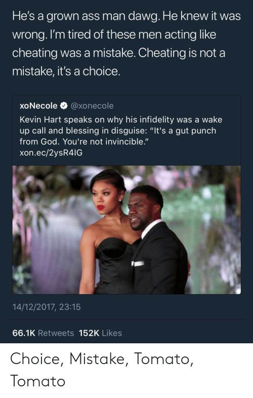 "infidelity: He's a arown ass man dawa. He knew it was  wrong. l'm tired of these men acting like  cheating was a mistake. Cheating is not a  mistake, it's a choice  xoNecole@xonecole  Kevin Hart speaks on why his infidelity was a wake  up call and blessing in disguise: ""it's a gut punch  from God. You're not invincible.""  xon.ec/2ysR4IG  14/12/2017, 23:15  66.1K Retweets 152K Likes Choice, Mistake, Tomato, Tomato"