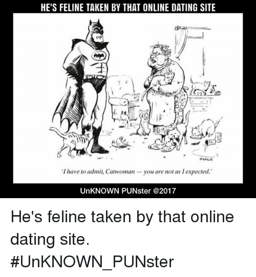 Dating, Memes, and Online Dating: HE'S FELINE TAKEN BY THAT ONLINE DATING SITE  (e  'T have to admiz Canwoman-you are not as l expected  UnKNOWN PUNster @2017 He's feline taken by that online dating site.  #UnKNOWN_PUNster