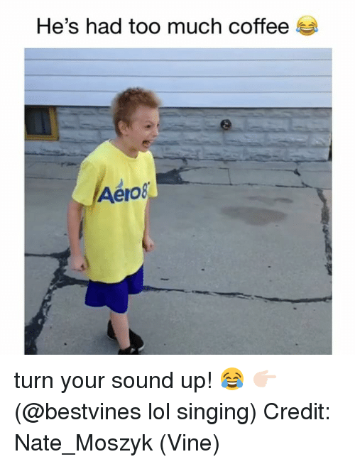 Lol, Memes, and Singing: He's had too much coffee  Aero turn your sound up! 😂 👉🏻(@bestvines lol singing) Credit: Nate_Moszyk (Vine)
