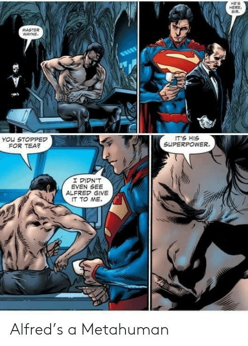 Wayne: HE'S  HERE  SIR  MASTER  WAYNE  IT'S HIS  SUPERPOWER.  You STOPPED  FOR TEA?  I DIDN'T  EVEN SEE  ALFRED GIVE  IT TO ME Alfred's a Metahuman