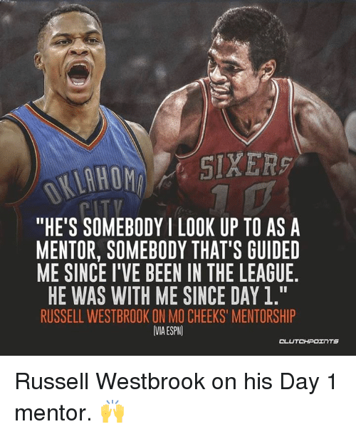 """Espn, Russell Westbrook, and The League: """"HE'S SOMEBODYI LOOK UP TO ASA  MENTOR, SOMEBODY THAT'S GUIDED  ME SINCE I'VE BEEN IN THE LEAGUE  HE WAS WITH ME SINCE DAY 1.""""  RUSSELL WESTBROOK ON MO CHEEKS' MENTORSHIP  VMA ESPN  OL Russell Westbrook on his Day 1 mentor. 🙌"""