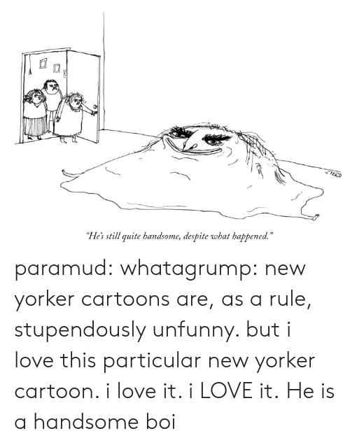 "Unfunny: ""He's still quite handsome, despite what happened."" paramud:  whatagrump: new yorker cartoons are, as a rule, stupendously unfunny. but i love this particular new yorker cartoon. i love it. i LOVE it.   He is a handsome boi"