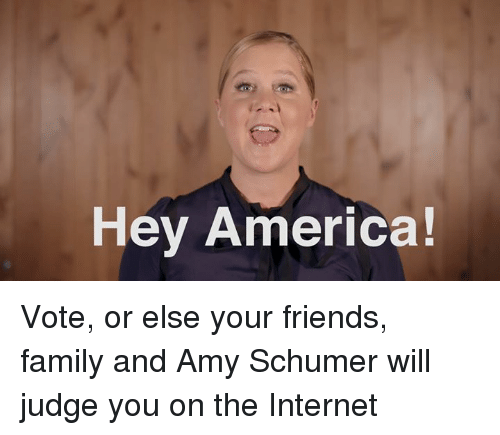 America, Amy Schumer, and Family: Hey America! Vote, or else your friends, family and Amy Schumer will judge you on the Internet