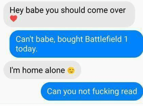 Battlefield 1: Hey babe you should come over  Can't babe, bought Battlefield 1  today.  I'm home alone  Can you not fucking read