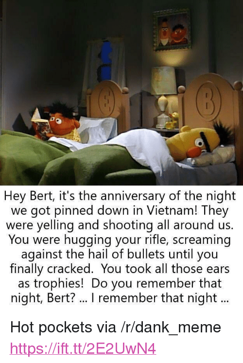 """Hot Pockets: Hey Bert, it's the anniversary of the night  we got pinned down in Vietnam! They  were yelling and shooting all around us.  You were hugging your rifle, screaming  against the hail of bullets until you  finally cracked. You took all those ears  as trophies! Do you remember that  night, Bert? .. I remember that night... <p>Hot pockets via /r/dank_meme <a href=""""https://ift.tt/2E2UwN4"""">https://ift.tt/2E2UwN4</a></p>"""