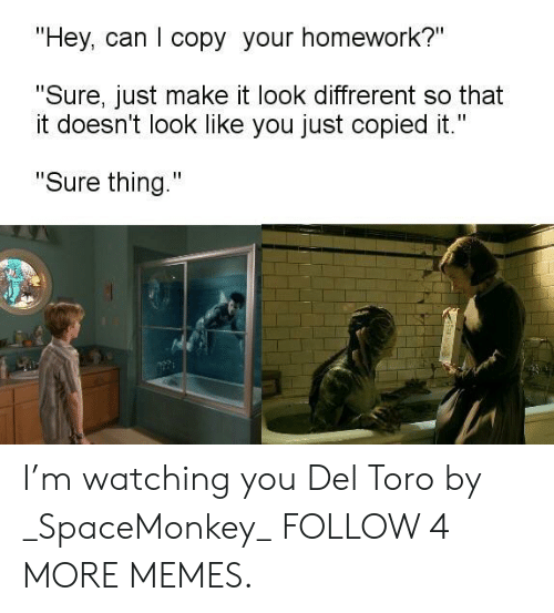 """im watching you: """"Hey, can I copy your homework?""""  """"Sure, just make it look diffrerent so that  it doesn't look like you just copied it.""""  """"Sure thing."""" I'm watching you Del Toro by _SpaceMonkey_ FOLLOW 4 MORE MEMES."""