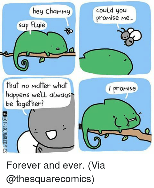 forever and ever: hey chammy  supp Fuyie  that no matter what  happens we'LL always  be together?  Could you  Promise Me  I promis Forever and ever. (Via @thesquarecomics)