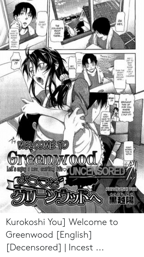 Money, English, and Old: HEY,  COGES  MONEY  KYAH  gousm  FOR YOU  OLD  we so  WELCOME TO  sOt  Greenwood.  L UNCENSORED  UREOSHI YOU Kurokoshi You] Welcome to Greenwood [English] [Decensored] | Incest ...