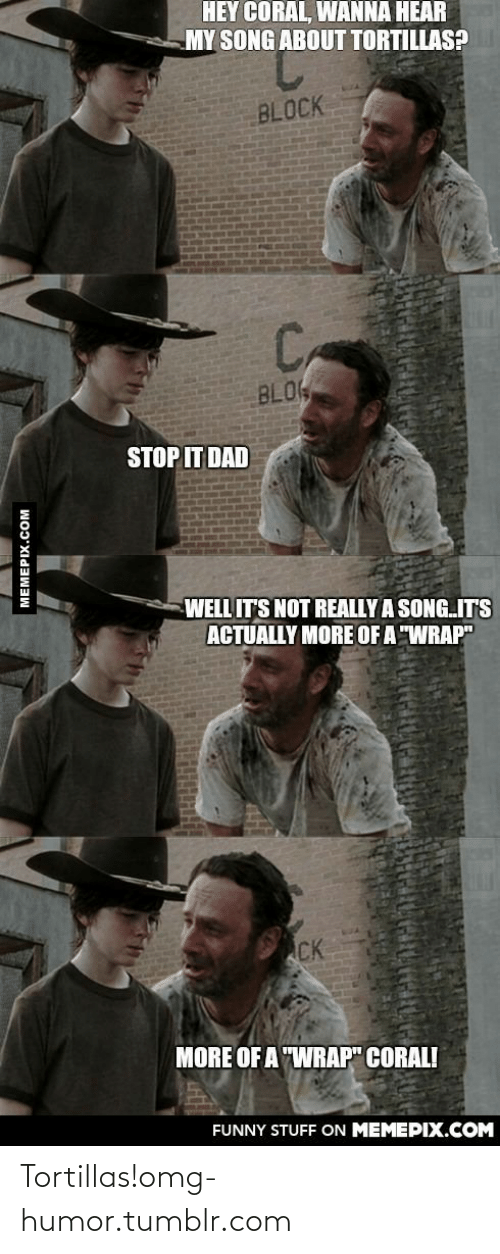 """Hey Coral: HEY CORAL, WANNA HEAR  MY SONG ABOUT TORTILLAS?  BLOCK  C,  BLO  STOP IT DAD  WELL IT'S NOT REALLY A SONG.IT'S  ACTUALLY MORE OF A """"WRAP""""  CK  MORE OF A """"WRAP"""" CORAL!  FUNNY STUFF ON MEMEPIX.COM  MEMEPIX.COM Tortillas!omg-humor.tumblr.com"""
