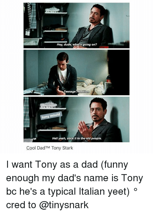tony stark: Hey, dude, what's going on?  Teenage rebellion  tony would  Hell yeah, stick it to the old people.  Cool Dad TM Tony Stark I want Tony as a dad (funny enough my dad's name is Tony bc he's a typical Italian yeet) ° 《cred to @tinysnark 》