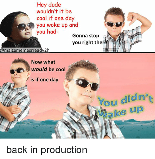 Dank Memes: Hey dude  wouldn't it be  cool if one day  you woke up and  you ha  Gonna stop  you right ther  maizememesr ready 2h  Now what  would be cool  is if one day  Cou didn't back in production