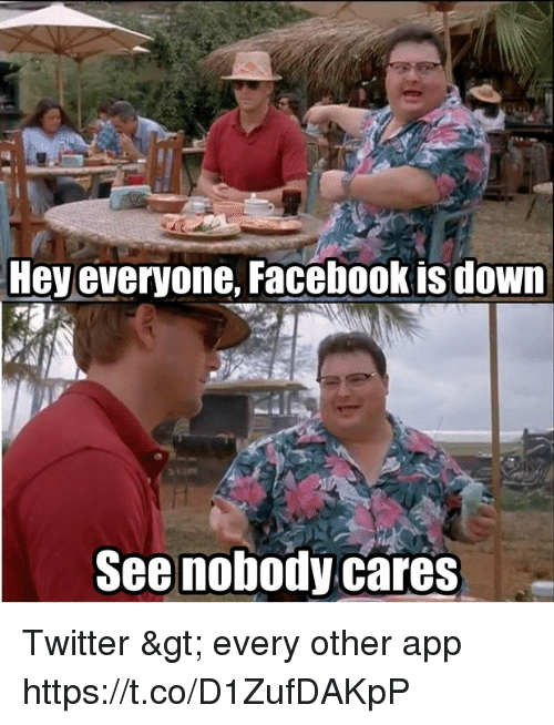 Facebook, Memes, and Twitter: Hey everyone, Facebook is down  See nobody cares Twitter > every other app https://t.co/D1ZufDAKpP