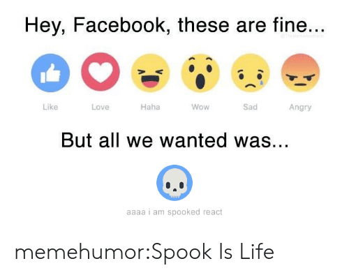 Spooked: Hey, Facebook, these are fine..  Like  Love  Haha  Wow  Sad  Angry  But all we wanted was..  aaaa i am spooked react memehumor:Spook Is Life