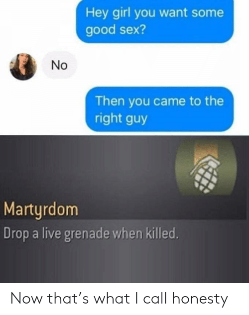 grenade: Hey girl you want some  good sex?  Then you came to the  right guy  Martyrdom  Drop a live grenade when killed.  No Now that's what I call honesty