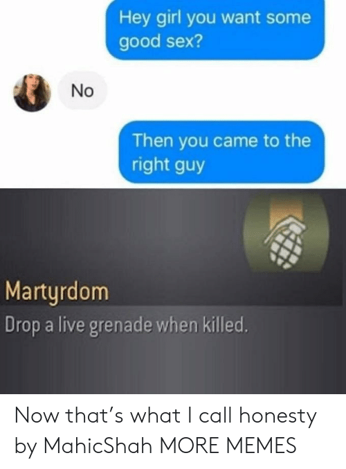 grenade: Hey girl you want some  good sex?  Then you came to the  right guy  Martyrdom  Drop a live grenade when killed.  No Now that's what I call honesty by MahicShah MORE MEMES