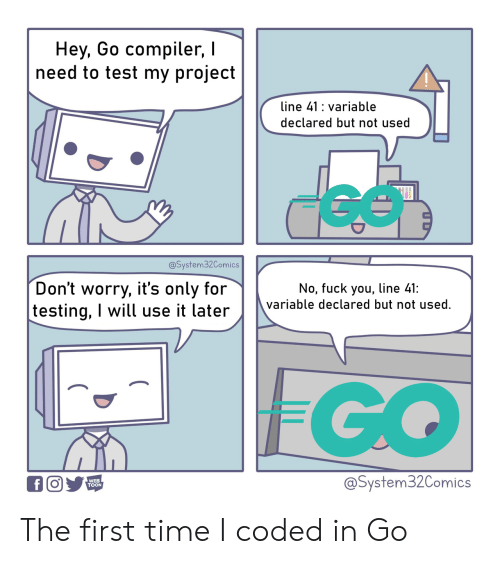 Testing: Hey, Go compiler,  need to test my project  line 41 variable  declared but not used  @System32Comics  Don't worry, it's only for  testing, I will use it later  No, fuck you, line 41:  variable declared but not used.  FGO  @System32Comics  WEB  TOON  f The first time I coded in Go