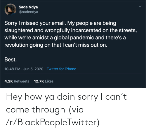 Doin: Hey how ya doin sorry I can't come through (via /r/BlackPeopleTwitter)