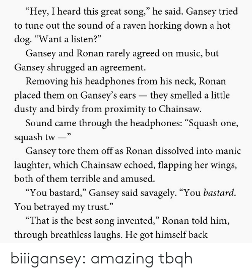 """flapping: Hey, I heard this great song,"""" he said. Gansey tried  to tune out the sound of a raven horking down a hot  dog. """"Want a listen?  Gansey and Ronan rarely agreed on music, but  Gansey shrugged an agreement.  Removing his headphones from his neck, Ronan  placed them on Gansey's ears -they smelled a little  dusty and birdy from proximity to Chainsaw  Sound came through the headphones: """"Squash one,  squash tw-""""  Gansev tore them off as Ronan dissolved into manic  laughter, which Chainsaw echoed, flapping her wings,  both of them terrible and amused.  """"You bastard,"""" Gansey said savagely. """"You bastard.  You betrayed my trust.""""  """"That is the best song invented,"""" Ronan told him,  through breathless laughs. He got himself back biiigansey: amazing tbqh"""