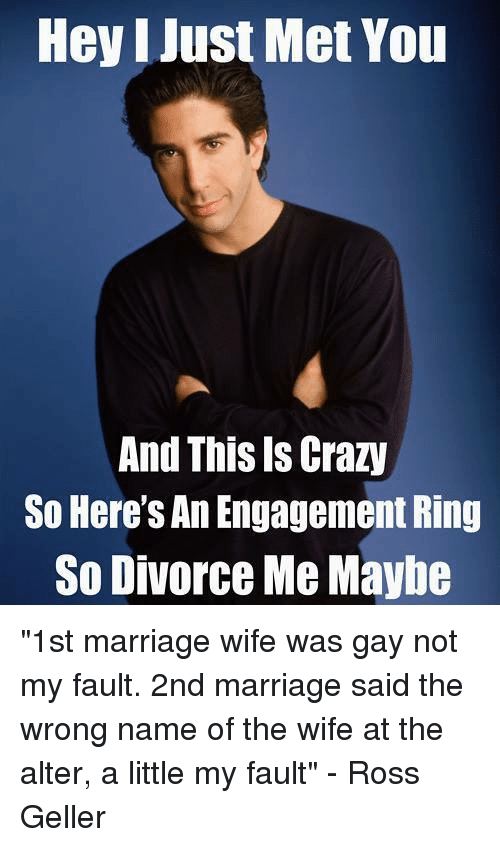 "i just met you: Hey I Just Met You  And This Is Crazy  So Here's An Engagement Ring  So Divorce Me Maybe ""1st marriage wife was gay not my fault. 2nd marriage said the wrong name of the wife at the alter, a little my fault"" - Ross Geller"