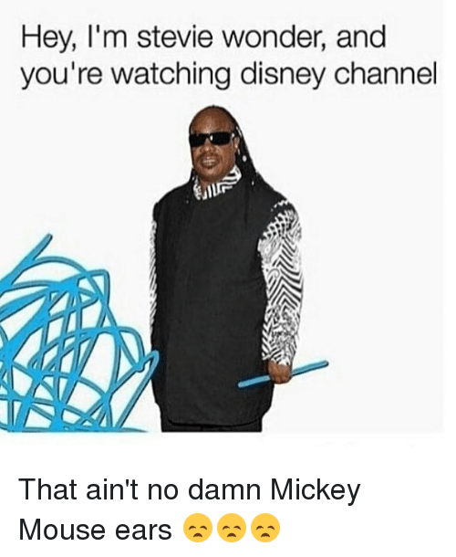 Disney, Memes, and Stevie Wonder: Hey, I'm stevie wonder, and  you're watching disney channel That ain't no damn Mickey Mouse ears 😞😞😞
