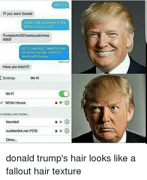 trump hair: Hey Joe  Tf you want Donald  Whats the password to the  White Houses Wifi?  TrumpisAnOICheetoLookinAss  6969  lol, I'm serious, Ineed to look  up some nuclear codes to  share with Russia  Delivered  Have you tried it?  Settings  Wi-Fi  Wi-Fi  White House  CROOSEA NETWORK.  haunted  suddenlink net-F210  i  Other...  Prob donald trump's hair looks like a fallout hair texture
