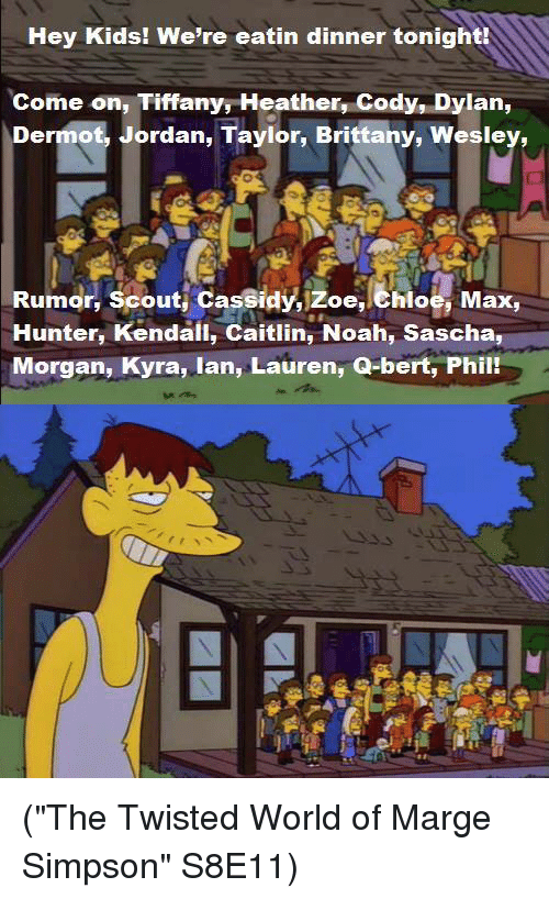 """Jordans, Marge Simpson, and Memes: Hey Kids! We're eatin dinner tonight!  Come on, Tiffany Heather, Cody, Dylan,  Dermot, Jordan, Taylor, Brittany, Wesley,  Rumor, Scout Cassidy, zoe, ehloe, Max,  Hunter, Kendall, Caitlin, Noah, Sascha,  Morgan, Kyra, lan, Lauren, Q-bert, Phily (""""The Twisted World of Marge Simpson""""  S8E11)"""