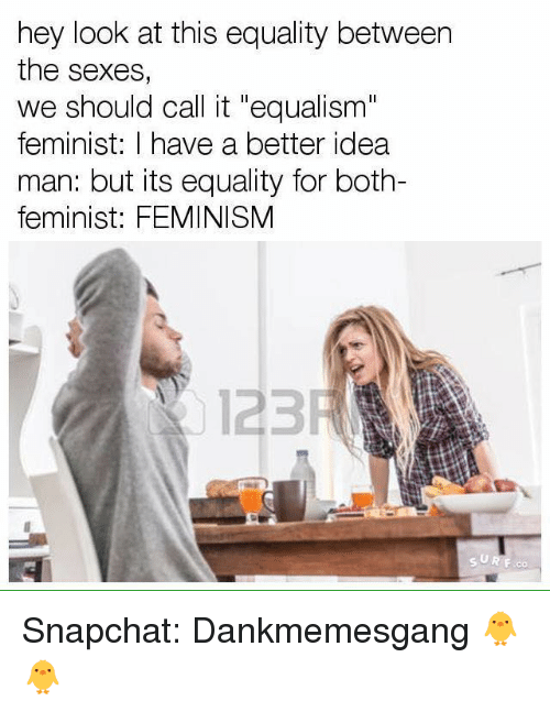 "Snapchater: hey look at this equality between  the sexes,  we should call it ""equalism""  feminist: I have a better idea  man: but its equality for both-  feminist: FEMINISM  123 Snapchat: Dankmemesgang 🐥🐥"
