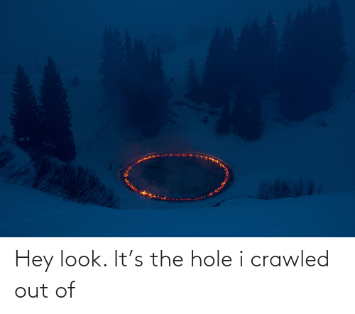 the hole: Hey look. It's the hole i crawled out of