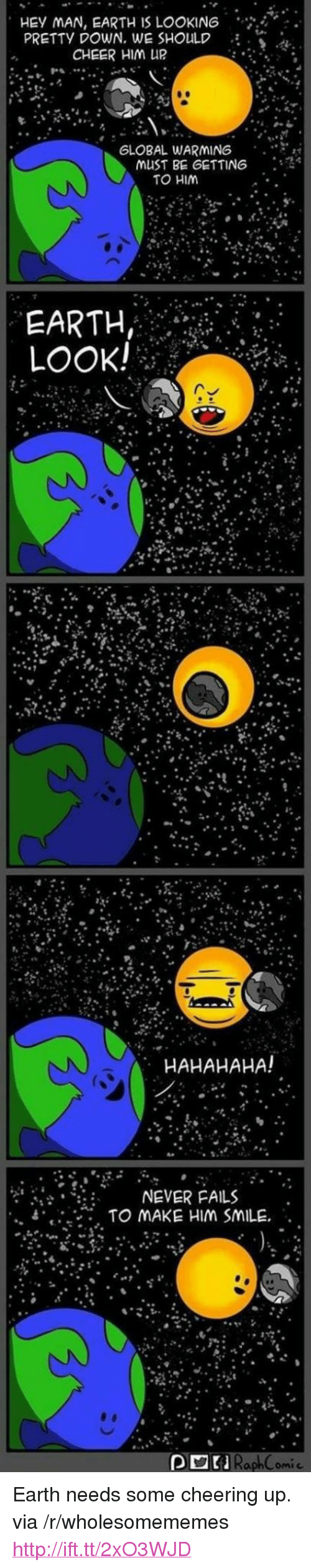 """Cheering Up: HEY MAN, EARTH IS LOOKIN6  PRETTY DOWN. WE SHOULD  CHEER HIM UR  GLOBAL WARMING  . . ..  musT BE GETTING : 4  TO HIM  EARTH  LOOK!  HAHAHAHA!  ?"""" ?it .  휴  NEVER FAILS  , TO MAKE HIM SMILE"""" .  """"  RaphComic <p>Earth needs some cheering up. via /r/wholesomememes <a href=""""http://ift.tt/2xO3WJD"""">http://ift.tt/2xO3WJD</a></p>"""