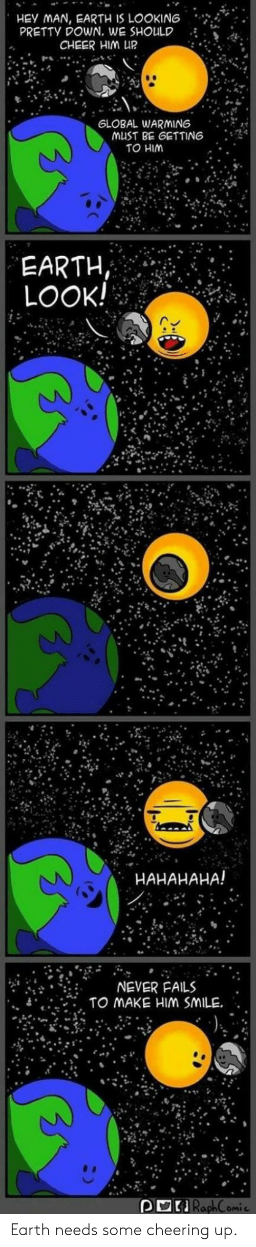 """Cheering Up: HEY MAN, EARTH IS LOOKIN6  PRETTY DOWN. WE SHOULD  CHEER HIM UR  GLOBAL WARMING  . . ..  musT BE GETTING : 4  TO HIM  EARTH  LOOK!  HAHAHAHA!  ?"""" ?it .  휴  NEVER FAILS  , TO MAKE HIM SMILE"""" .  """"  RaphComic Earth needs some cheering up."""