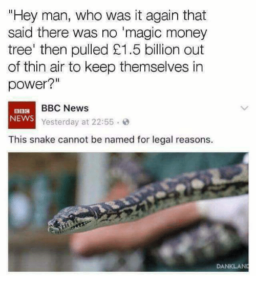 "Memes, Money, and News: Hey man, who was it again that  said there was no 'magic money  tree' then pulled £1.5 billion out  of thin air to keep themselves in  power?""  BBC News  NEWS  Yesterday at 22:55.  This snake cannot be named for legal reasons.  DANKLAN"