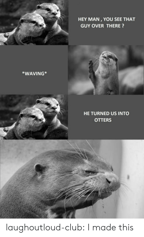 Otters: HEY MAN, YOU SEE THAT  GUY OVER THERE?  *WAVING*  HE TURNED US INTO  OTTERS laughoutloud-club:  I made this