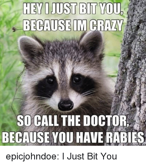 Im Crazy: HEY OJUST BIT YOU  BECAUSE IM CRAZY  SO CALL THE DOCTOR  BECAUSE YOU HAVE RABIES epicjohndoe:  I Just Bit You