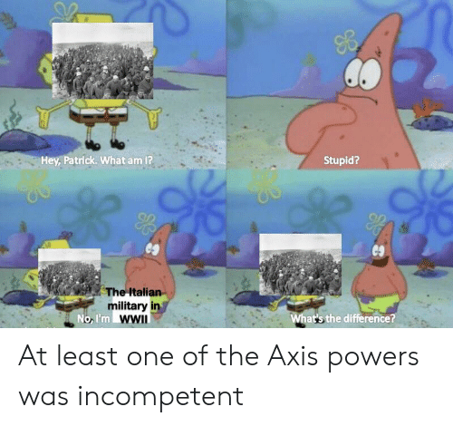 Italian Military: Hey, Patrick. What am 1?  Stupid?  es  The Italian  military in  No, I'm WWII  What's the difference? At least one of the Axis powers was incompetent
