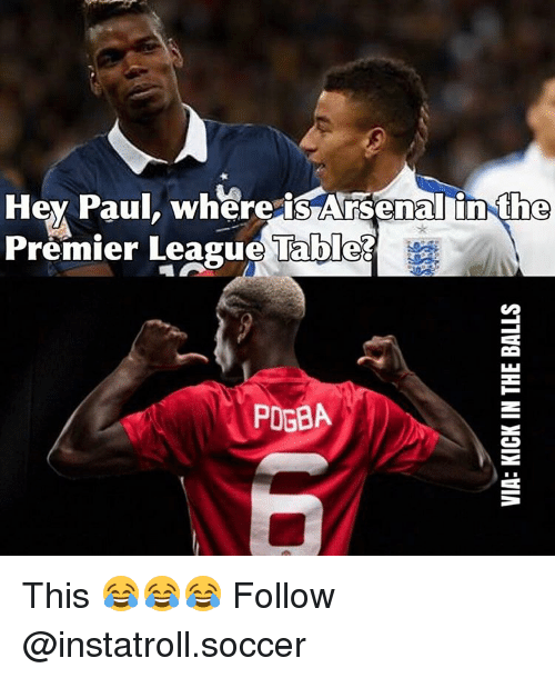 Memes, 🤖, and Paul: Hey Paul, where is Arsenal in the  Premier League Tables  POGBA This 😂😂😂 Follow @instatroll.soccer