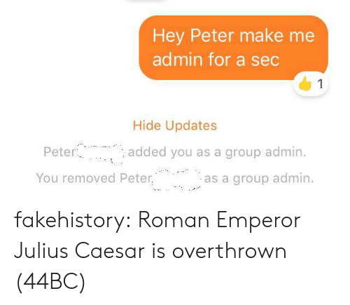 Julius Caesar: Hey Peter make me  admin for a sec  1  Hide Updates  Peter  added you as a group admin.  You removed Peter.  as a group admin fakehistory: Roman Emperor Julius Caesar is overthrown (44BC)