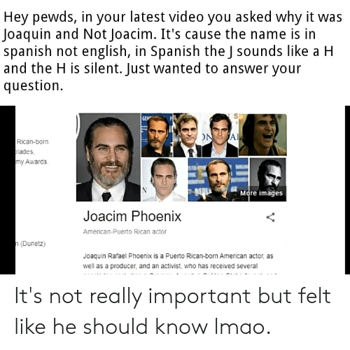puerto rican: Hey pewds, in your latest video you asked why it was  Joaquin and Not Joacim. It's cause the name is in  spanish not english, in Spanish the J sounds like a H  and the H is silent. Just wanted to answer your  question  GEN  ONA  Rican-born  lades  my Awards  More images  Joacim Phoenix  American-Puerto Rican actor  n(Dunetz)  Joaquin Rafael Phoenix is a Puerto Rican-born American actor, as  well as a producer, and an activist, who has received several It's not really important but felt like he should know lmao.