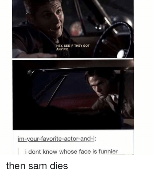 Memes, 🤖, and Got: HEY, SEE IF THEY GOT  ANY PIE  im-your-favorite-actor-and-i:  i dont know whose face is funnier then sam dies