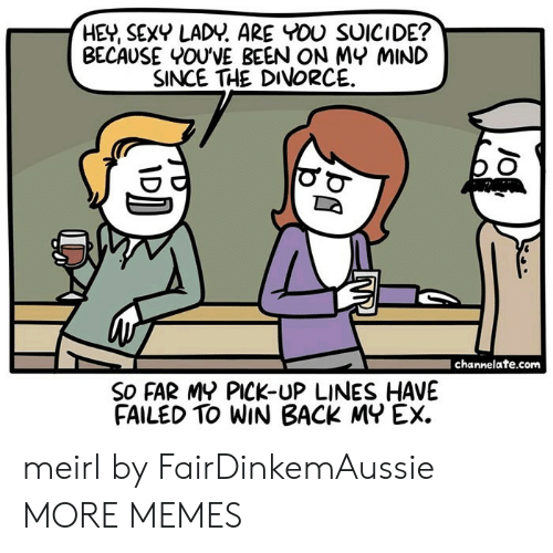 channelate: HEY, SEXY LADY. ARE YOU SUICIDE?  BECAUSE YOU'VE BEEN ON MY MIND  SINCE THE DIVORCE  channelate.com  SO FAR MY PICK-UP LINES HAVE  FAILED TO WIN BACK MY EX. meirl by FairDinkemAussie MORE MEMES
