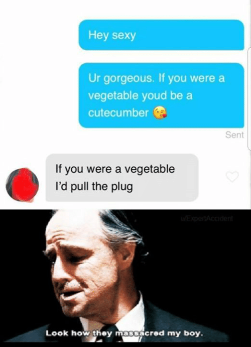 The Plug: Hey sexy  Ur gorgeous. If you were a  vegetable youd be a  cutecumber  Sent  If you were a vegetable  I'd pull the plug  Look how they massacred my boy