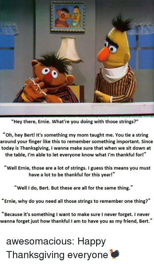 """happy thanksgiving: """"Hey there, Ernie. What're you doing with those strings?""""  """"oh, hey Bert! It's something my mom taught me. You tie a string  around your finger like this to remember something important. Since  today is Thanksgiving, I wanna make sure that when we sit down at  the table, I'm able to let everyone know what I'm thankful for!""""  Well Ernie, those are a lot of strings. I guess this means you must  have a lot to be thankful for this year!""""  """"Well I do, Bert. But these are all for the same thing.""""  """"Ernie, why do you need all those strings to remember one thing?""""  """"Because it's something I want to make sure I never forget. I never  wanna forget just how thankful I am to have you as my friend, Bert."""" awesomacious:  Happy Thanksgiving everyone🦃"""