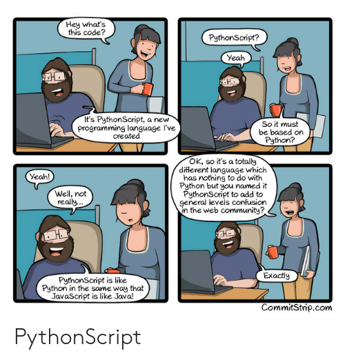 Whats This: Hey what's  this code?  PythonScript?  Yeah  It's PythonScript, a new  programming language l've  created  So it must  be based on  Python?  4l  OK, so it's a totally  different language which  has nothing to do with  Python but you named it  PythonScript to add to  general levels confusion  n the web community?  Yeah!  Well, not  really.  Exactly  PythonScript is like  Python in the same way that  JavaScript is like Java!  CommitStrip.com PythonScript