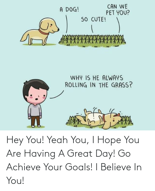 I Believe: Hey You! Yeah You, I Hope You Are Having A Great Day! Go Achieve Your Goals! I Believe In You!
