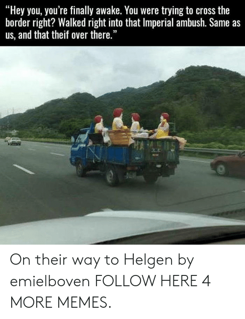 "Theif: ""Hey you, you're finally awake. You were trying to cross the  border right? Walked right into that Imperial ambush. Same as  us, and that theif over there."" On their way to Helgen by emielboven FOLLOW HERE 4 MORE MEMES."
